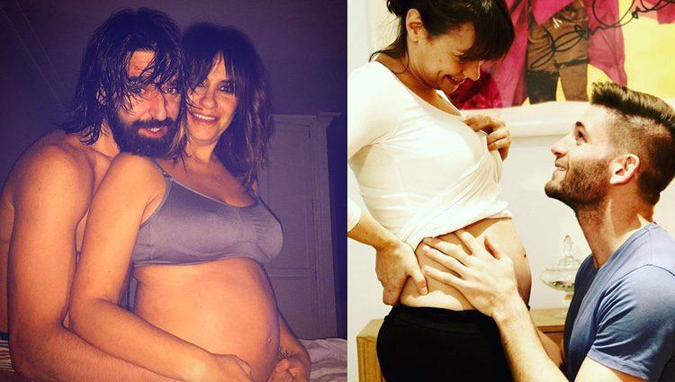 Melani Olivares y Natalia Verbeke luciendo embarazo junto a sus parejas / Instagram