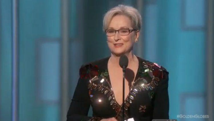 Meryl Streep durante su discurso en los Globos de Oro