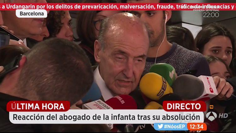Miquel Roca, abogado de la Infanta Cristina comparece tras la lectura e la</p><p>sentencia del Caso Noós