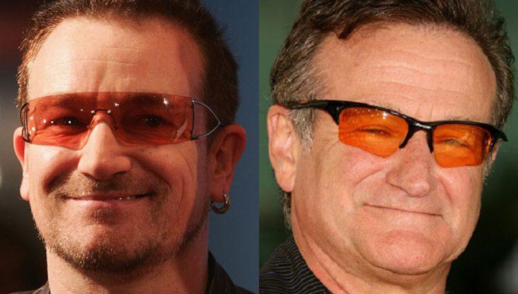 Bono a la izquierda y Robin Williams a la derecha