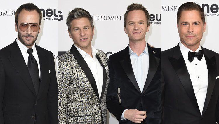 Tom Ford, Neil Patrick Harris y su pareja y Rob Lowe en la fiesta de cumpleaños de John