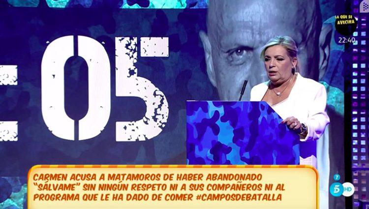 Carmen Borrego en su debut como colaboradora de 'Sávame' | Fuente: Telecinco