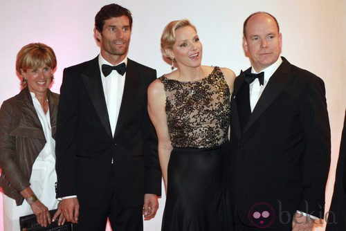 The Princes of Monaco with Mark Webber and his wife at the gala after the F1 Grand Prix of Monaco