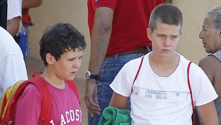 Felipe de Marichalar y Juan Urdangarín en el club náutico de Calanova en Mallorca